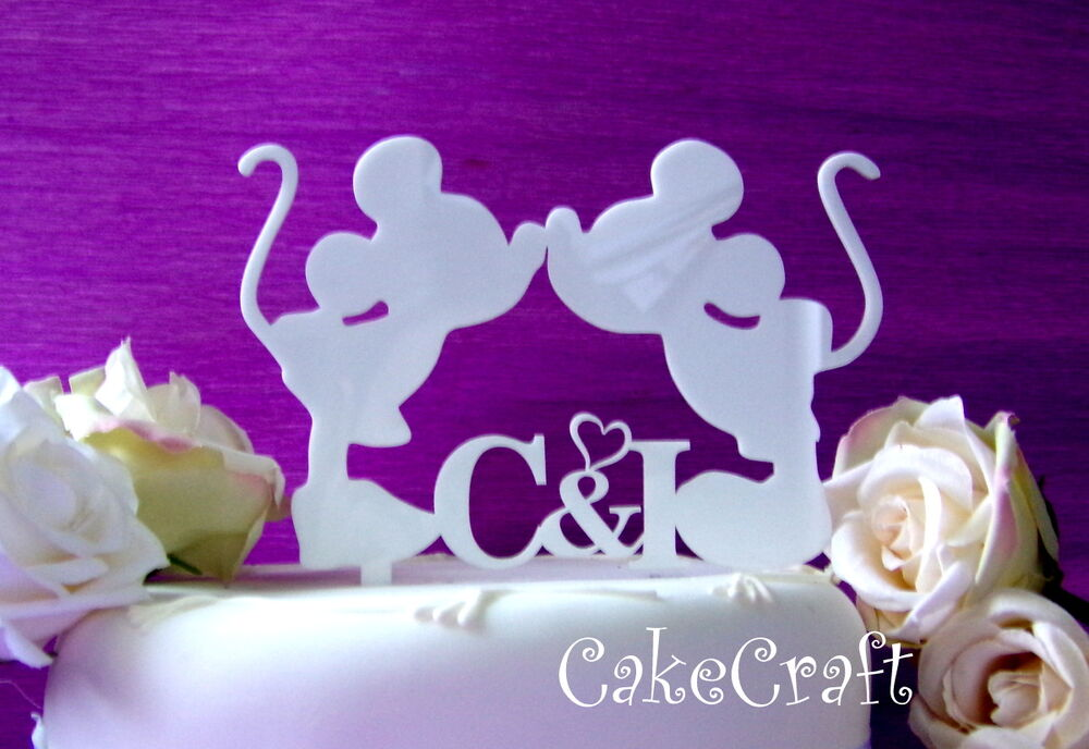 Acrylic initial Mickey Minnie Mouse wedding engagement ...