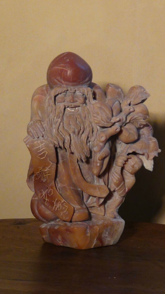 Antique c chinese hard stone jade hand carved statue