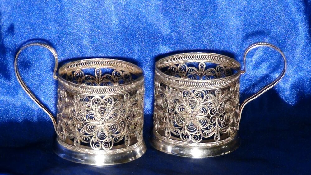 pair vintage russian silver plate filigree pierced flowers