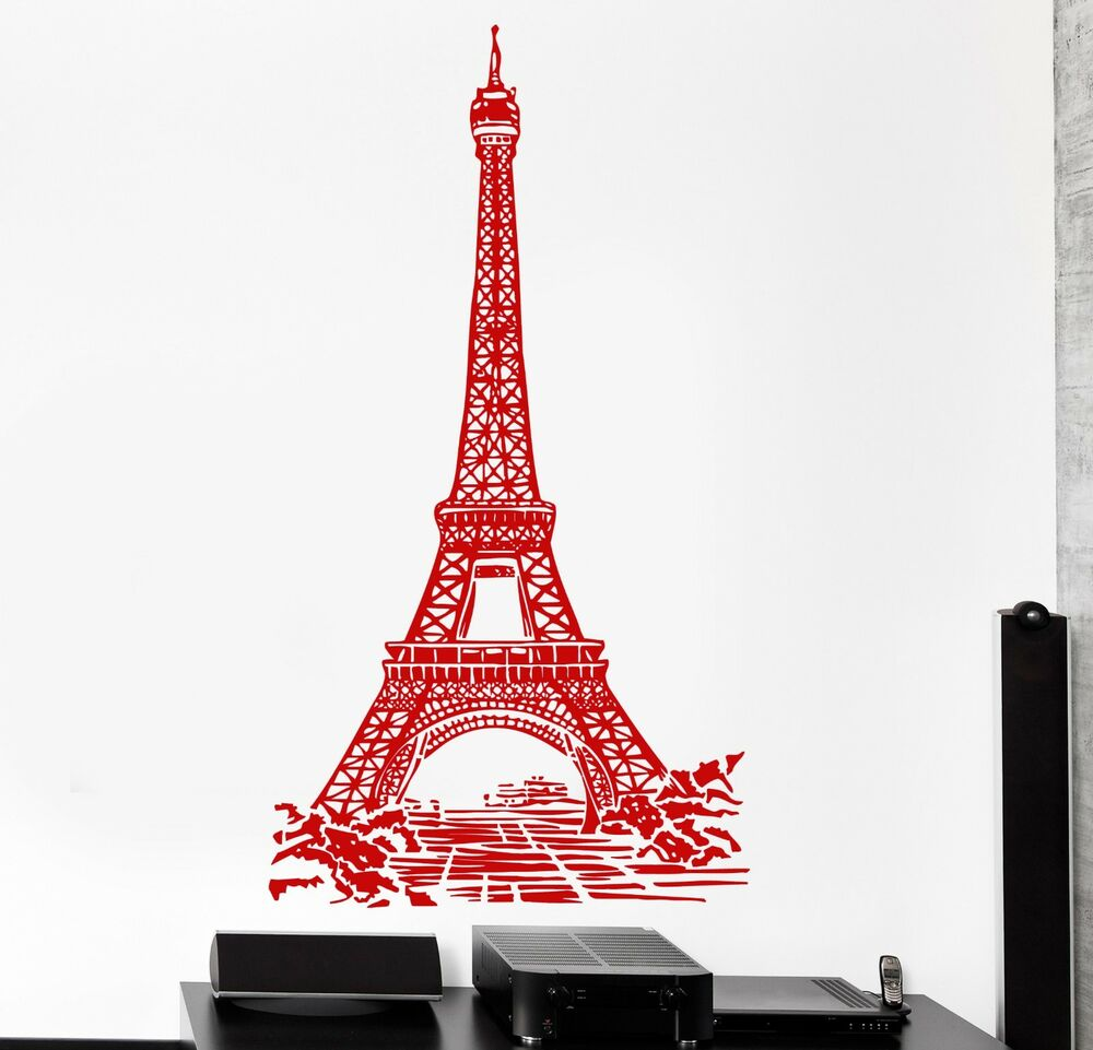 Wall decal paris france eiffel tower romantic travel vinyl for Stickers tour eiffel chambre
