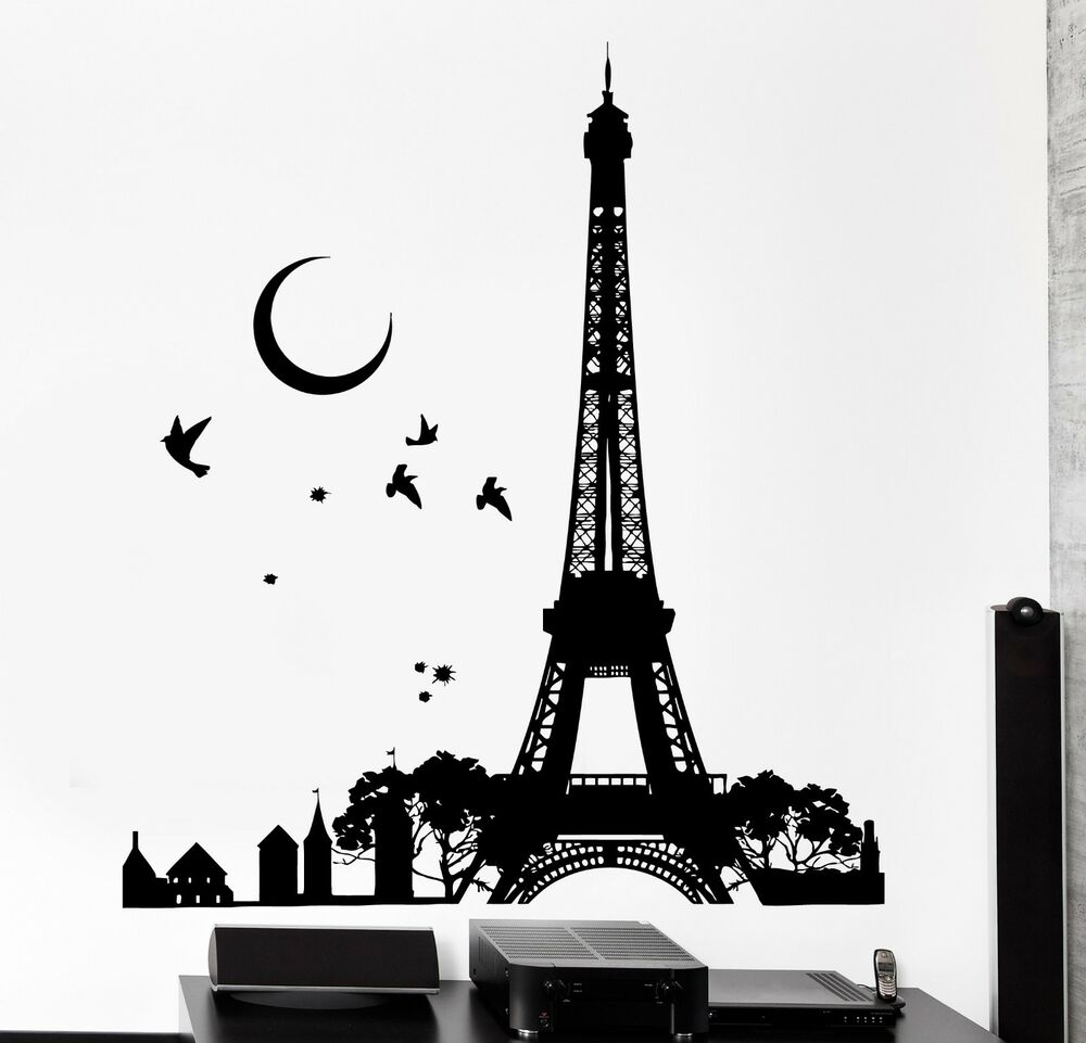 wall decal paris france eiffel tower night moon birds vinyl decal z3123 ebay. Black Bedroom Furniture Sets. Home Design Ideas