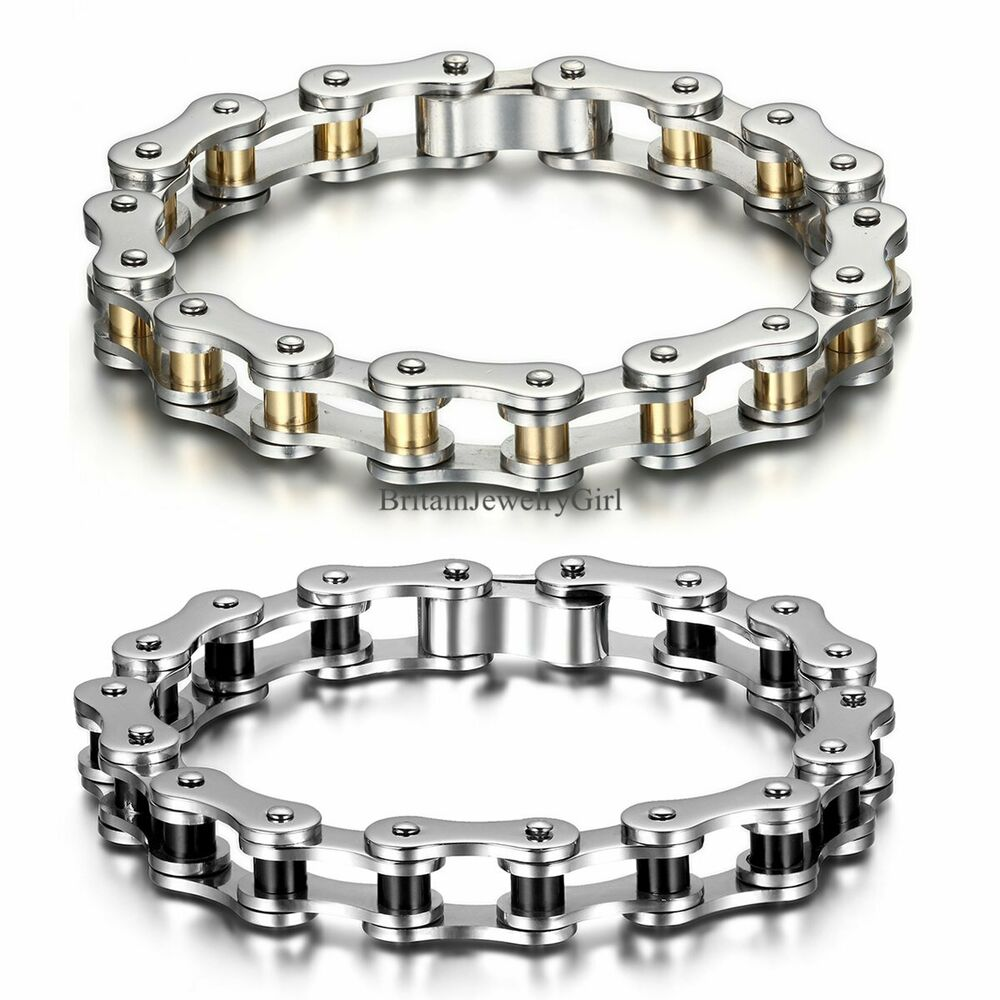 new heavy mens motor biker chain stainless steel bracelet. Black Bedroom Furniture Sets. Home Design Ideas