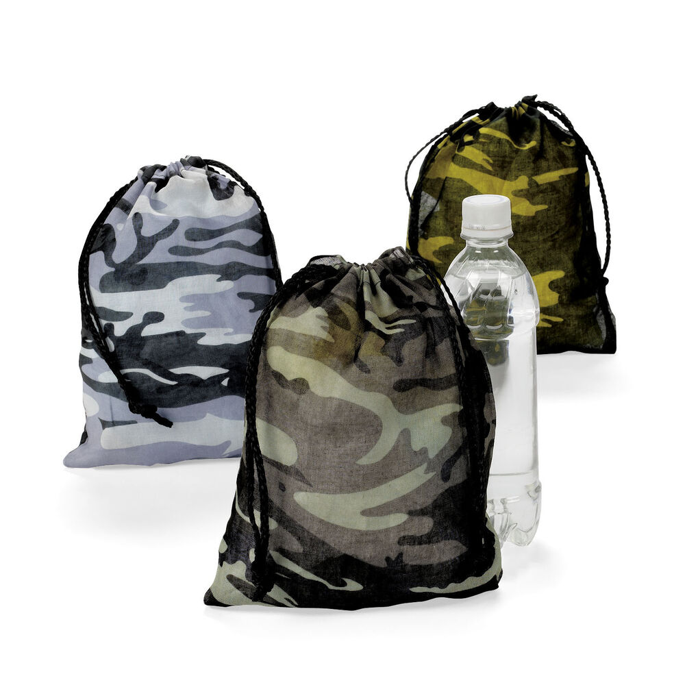 12 Camouflage Drawstring Loot Bags Totes Boys Army