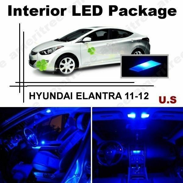 Blue Led Lights Interior Package Kit For Hyundai Elantra 2011 2012 8 Pieces Ebay
