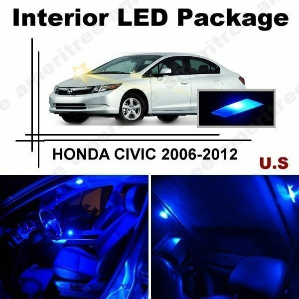 Blue Led Lights Interior Package Kit For Honda Civic 2006 2012 6 Pieces Ebay
