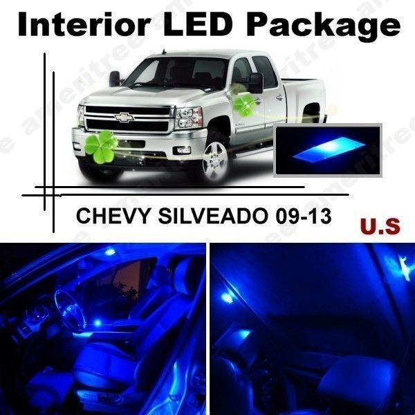 Blue led lights interior package kit for chevy silverado - Led interior lights for 2013 chevy silverado ...