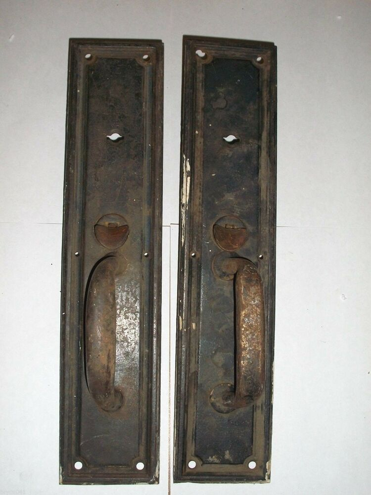 Antique Door Handle Tumb Latch Plates 73 Ebay