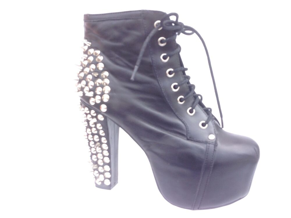 Jeffrey campbell lita spiked black leather ankle platform boots women 39 s sz 9 ebay - Jeffrey campbell lita platform boots ...