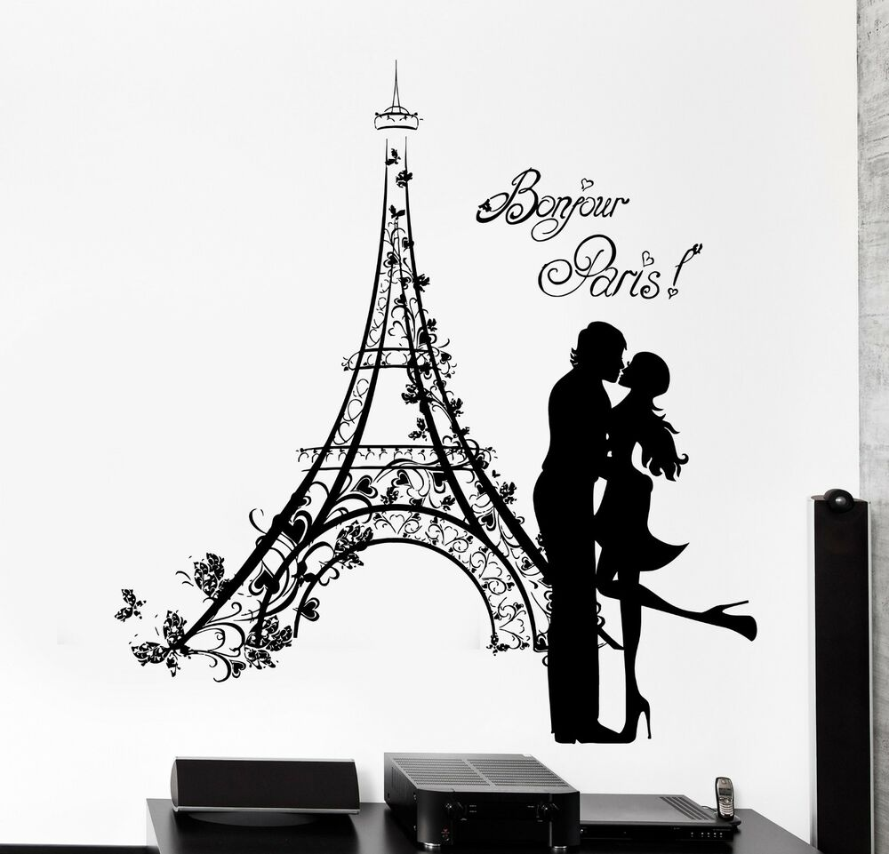 Wall decal paris france kissing couple eiffel tower vinyl for Eiffel tower mural black and white
