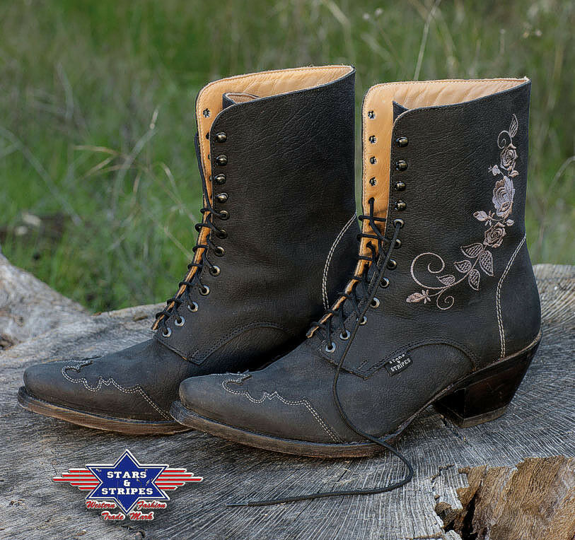 damen stiefelette country western cowboy stiefel ankle boots rosi schwarz s s ebay. Black Bedroom Furniture Sets. Home Design Ideas