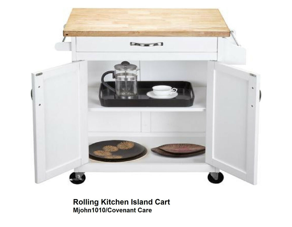 Rolling Kitchen Island Cart Cabinet Hardwood Top White Drawer Spice Rack Ebay