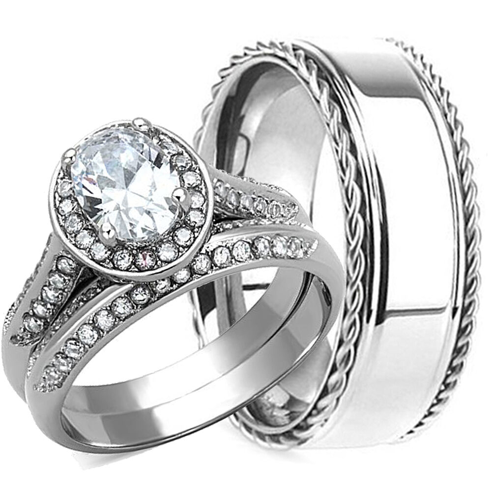 3pcs his hers wedding ring set matching band mens and for Men and women matching wedding rings