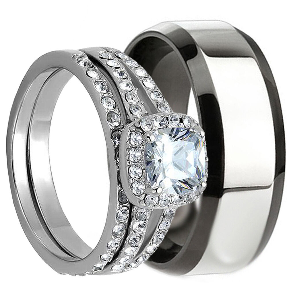 3 PCS HIS AND HERS STAINLESS STEEL MATCHING WEDDING BRIDAL MATCHING RING SET