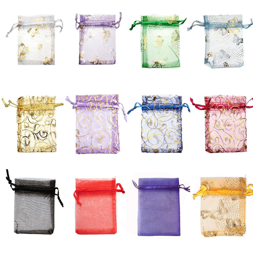 100pcs 7x9ccm organza wedding favor gift jewellery candy for Wedding favor gift bags