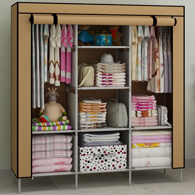 9 colors high qualitly large space clothes wardrobe storage closet organizer ebay - Clothes storage for small spaces model ...