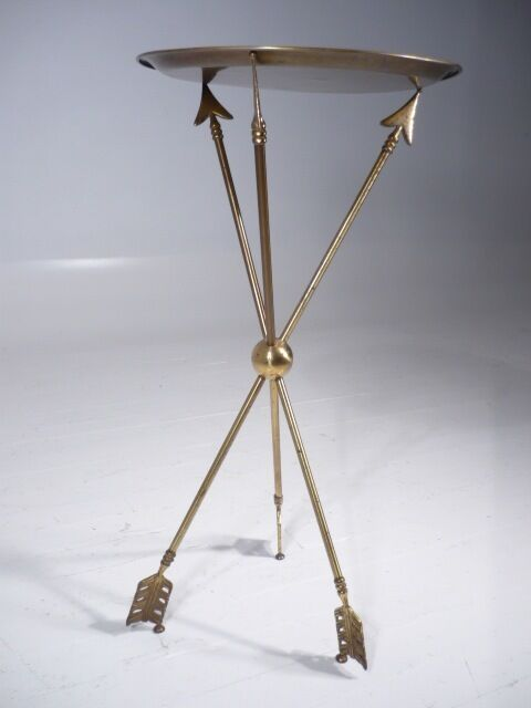 Vintage 50u0027s Hollywood Regency Brass Arrow Tripod Side Table Maison Jansen  Style | EBay