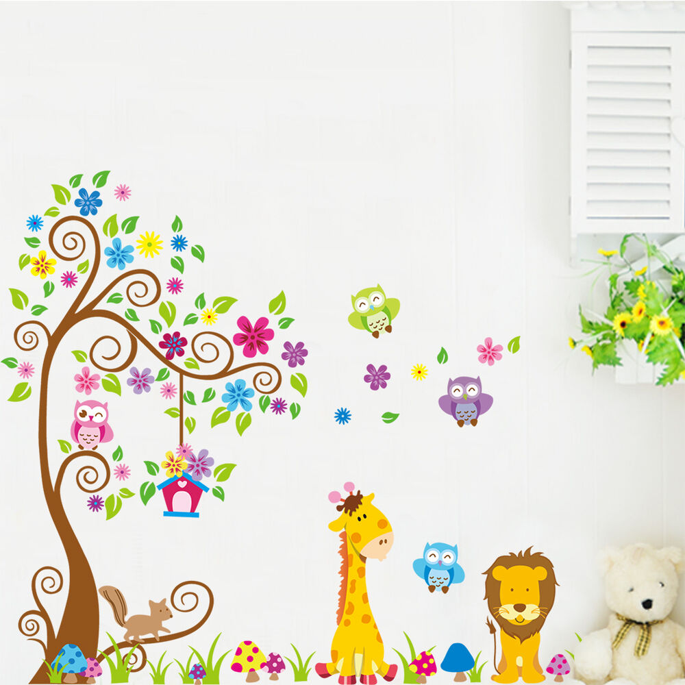wandtattoo wandsticker xxl deko tiere kinder eule wald l we kinderzimmer baum ebay. Black Bedroom Furniture Sets. Home Design Ideas