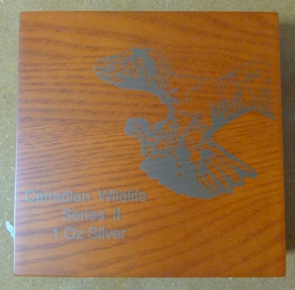 Canadian Wildlife Wooden Coin Box For 4 X 1 Oz Silver