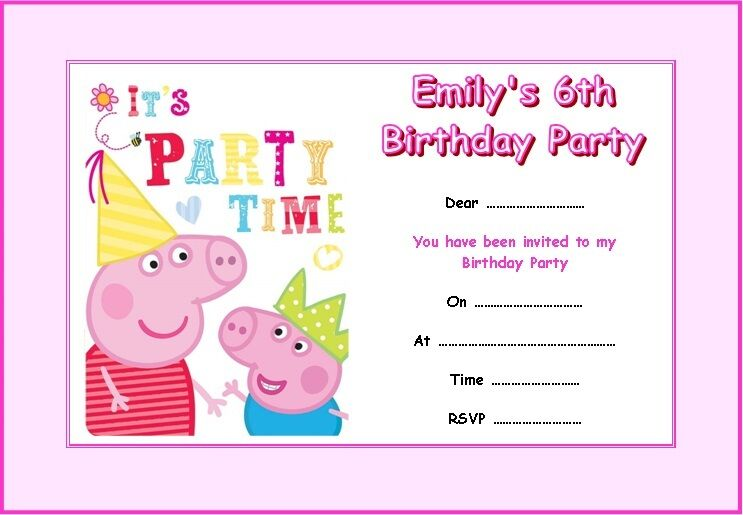 personalised peppa pig #2 party invitations x 10 | ebay, Party invitations