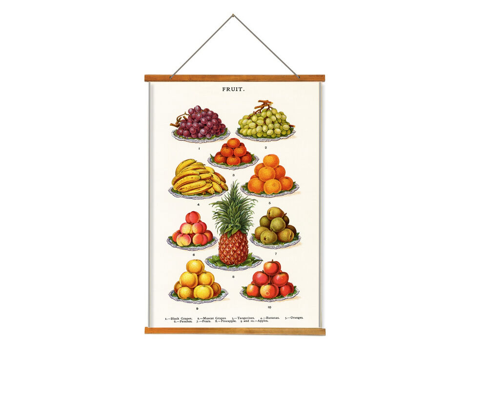 Vintage Fruit Wall Decor : Fruit kitchen wall hangings tapesty vintage art print