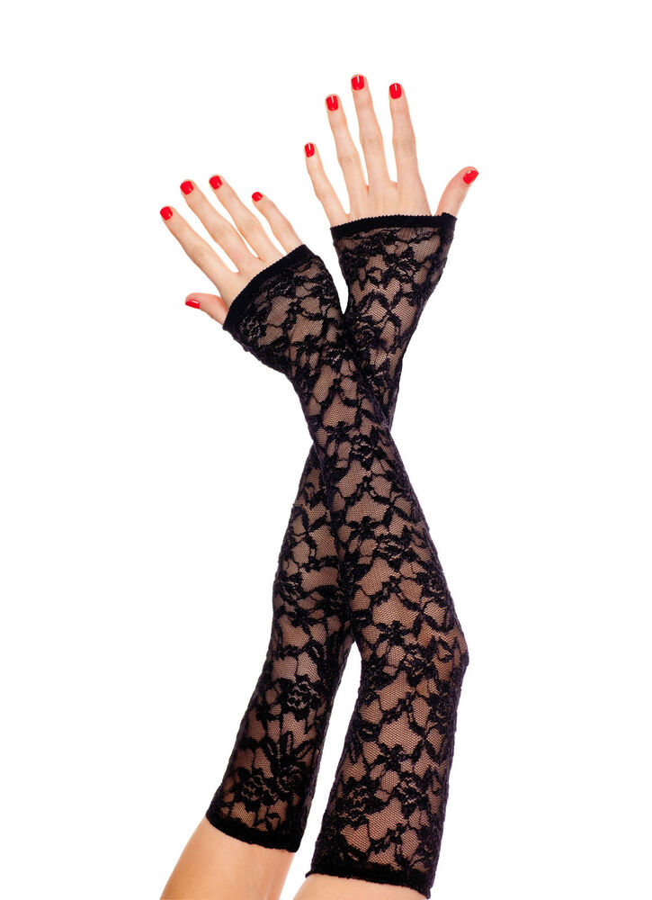 ML-475 Sexy Black Lace Long Fingerless Gloves Evening ...