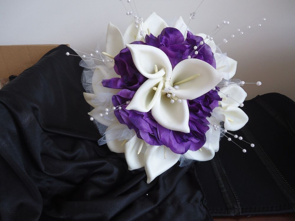 purple calla lily wedding bouquets wedding silk bridal bridesmaid bouquet white calla 6885