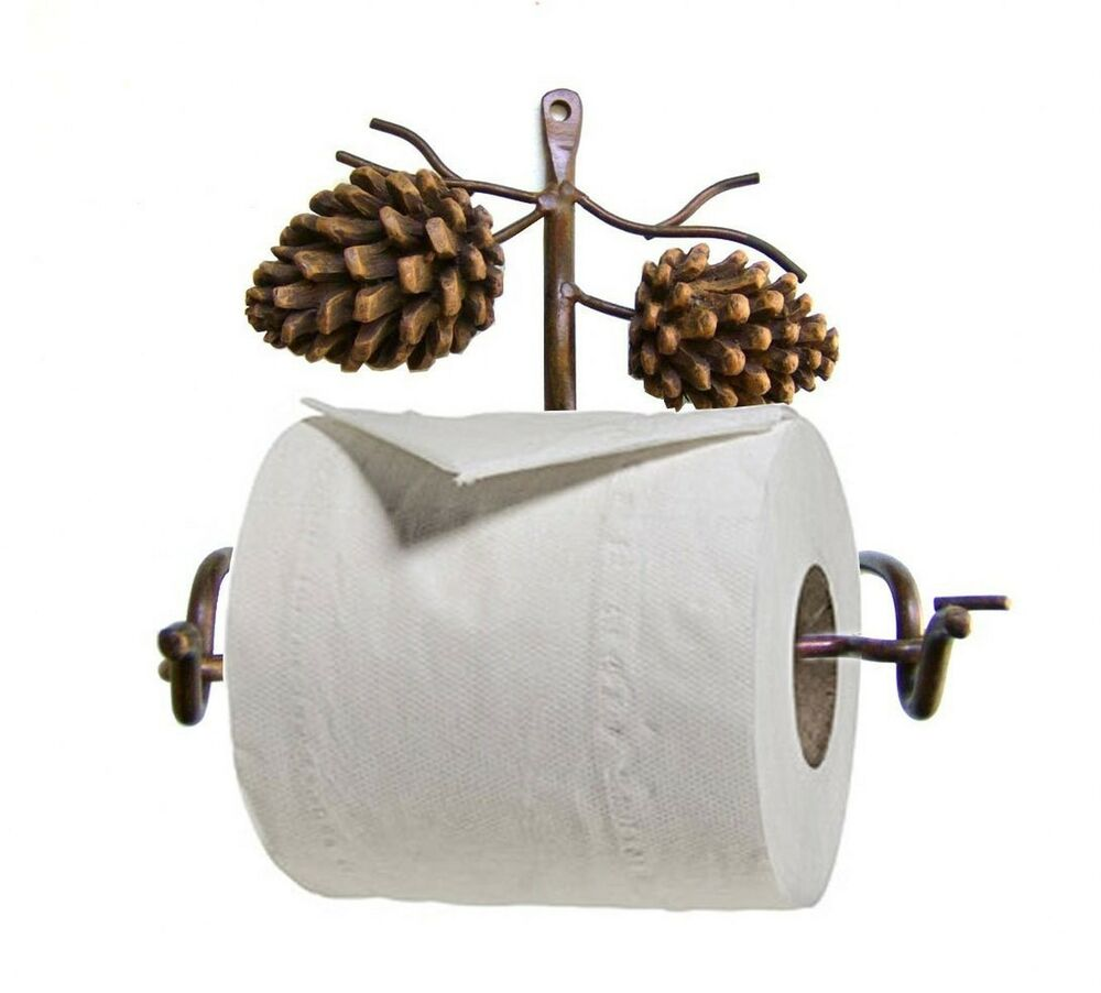 New pinecone rustic toilet paper holder bathroom tissue easy wall mount decor ebay - Tissue holder bathroom ...
