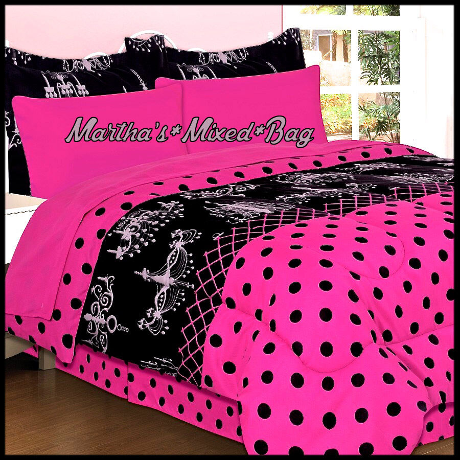chandelier paris chic girls hot pink black polka dot 6 8p comforter sheet set ebay. Black Bedroom Furniture Sets. Home Design Ideas