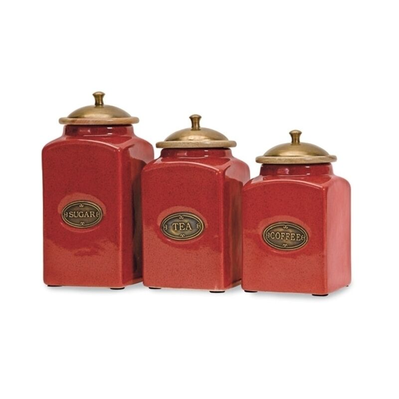 Imax Red Ceramic Canisters Set of 3 5268 3 Kitchen