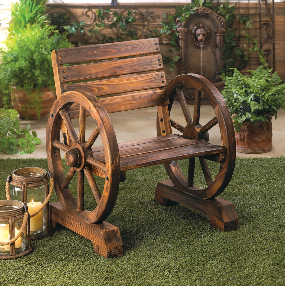 Rustic wood wooden wagon wheel outdoor garden patio for Wooden garden furniture