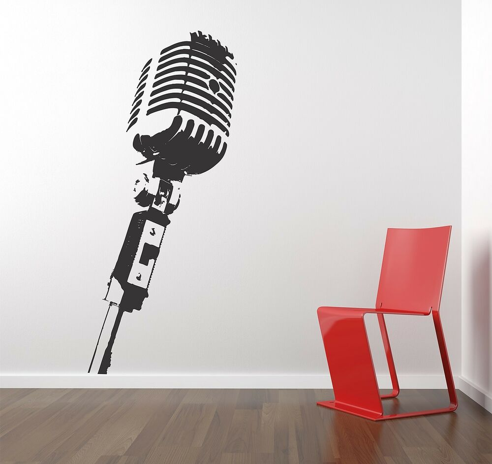 Studio Microphone Wall Vinyl Decals Sticker Home Interior Decor For Any Room Housewares Mural Design Graphic Bedroom