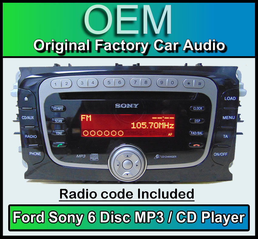 ford mondeo car stereo  disc cd player ford sony cd mp changer radio code ebay