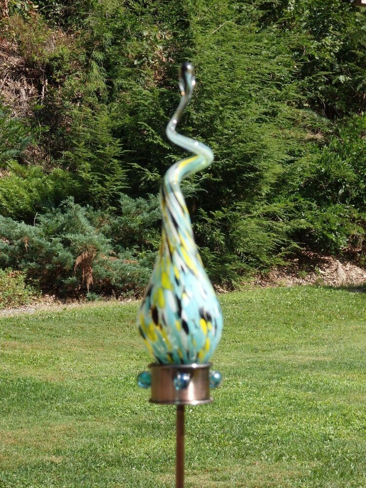 Hand Blown Lt Blue Colored Art Glass Solar Swizzle Stake