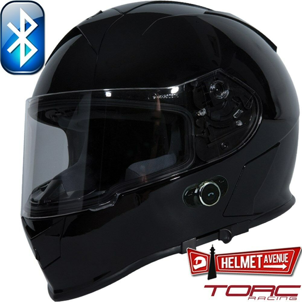 Torc T14b Bluetooth Glossy Black Solid Full Face