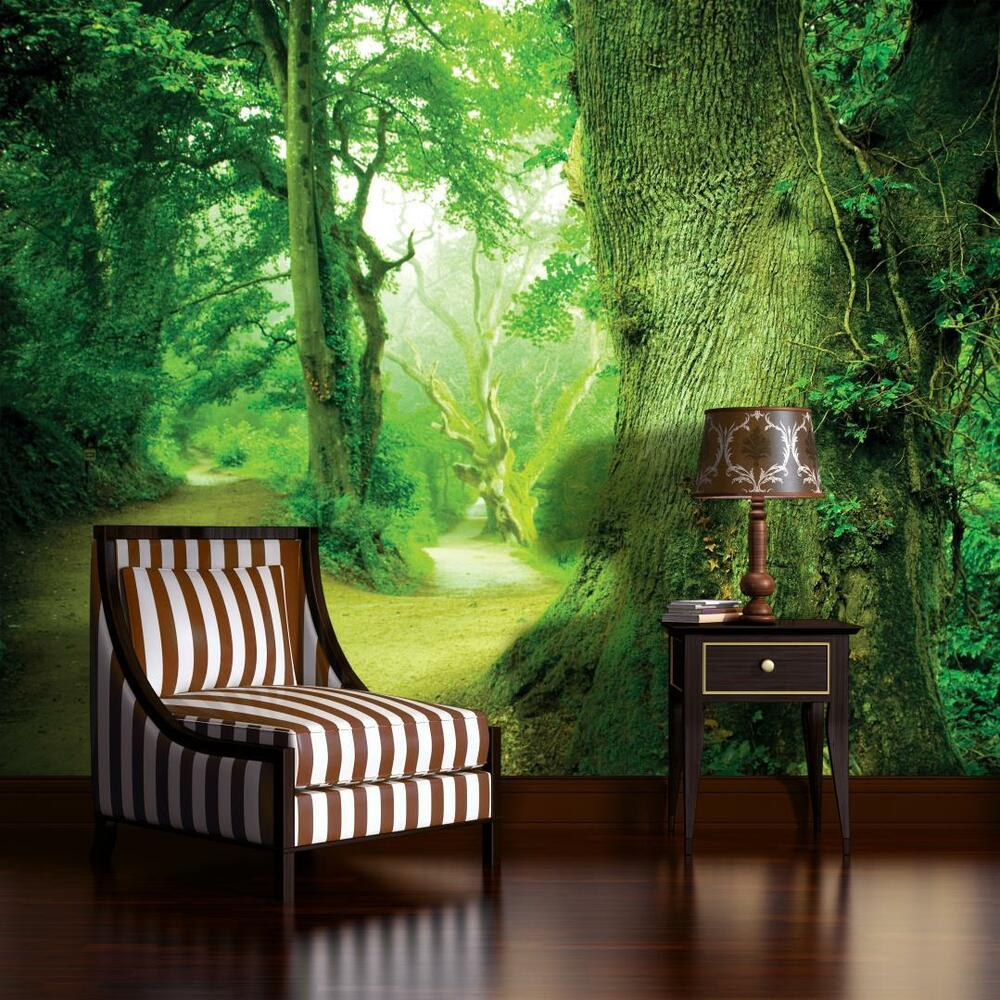 fototapete fototapeten tapete wanbild foto zauberwald baum wald gr n 3fx290p4 ebay. Black Bedroom Furniture Sets. Home Design Ideas