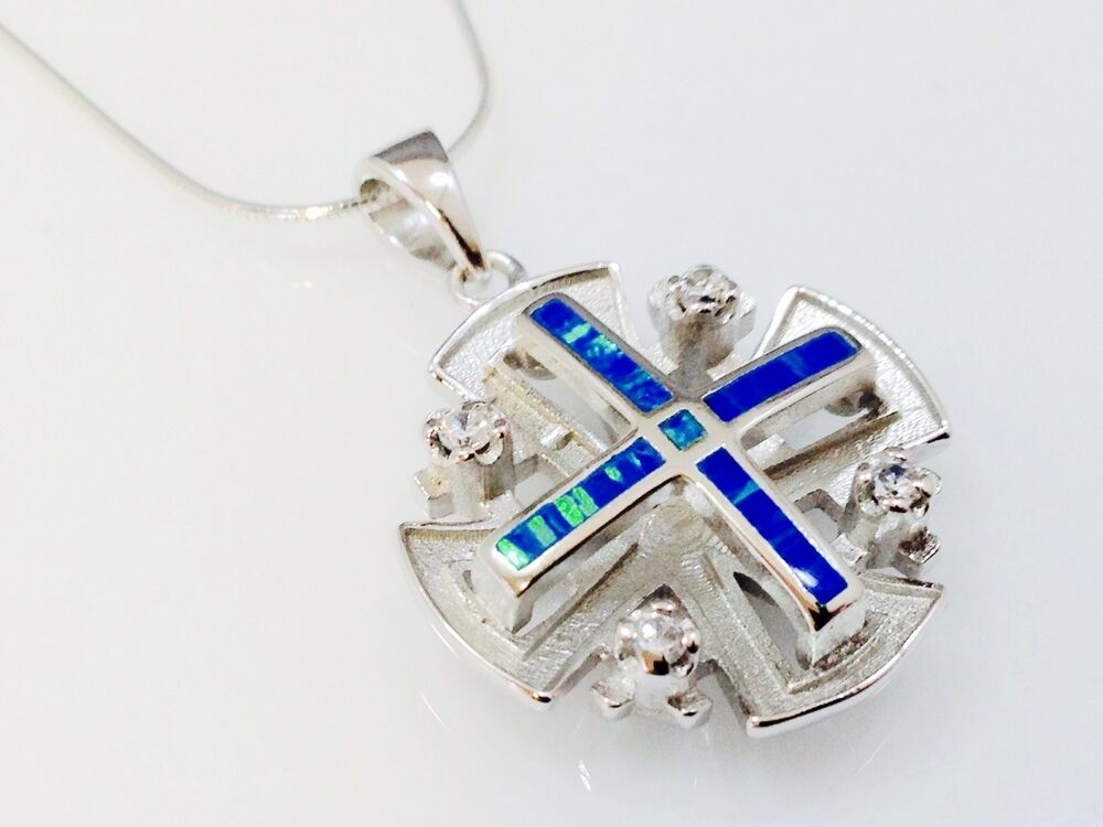 Jerusalem Cross Pendant Blue Opal Cz Sterling Silver 925