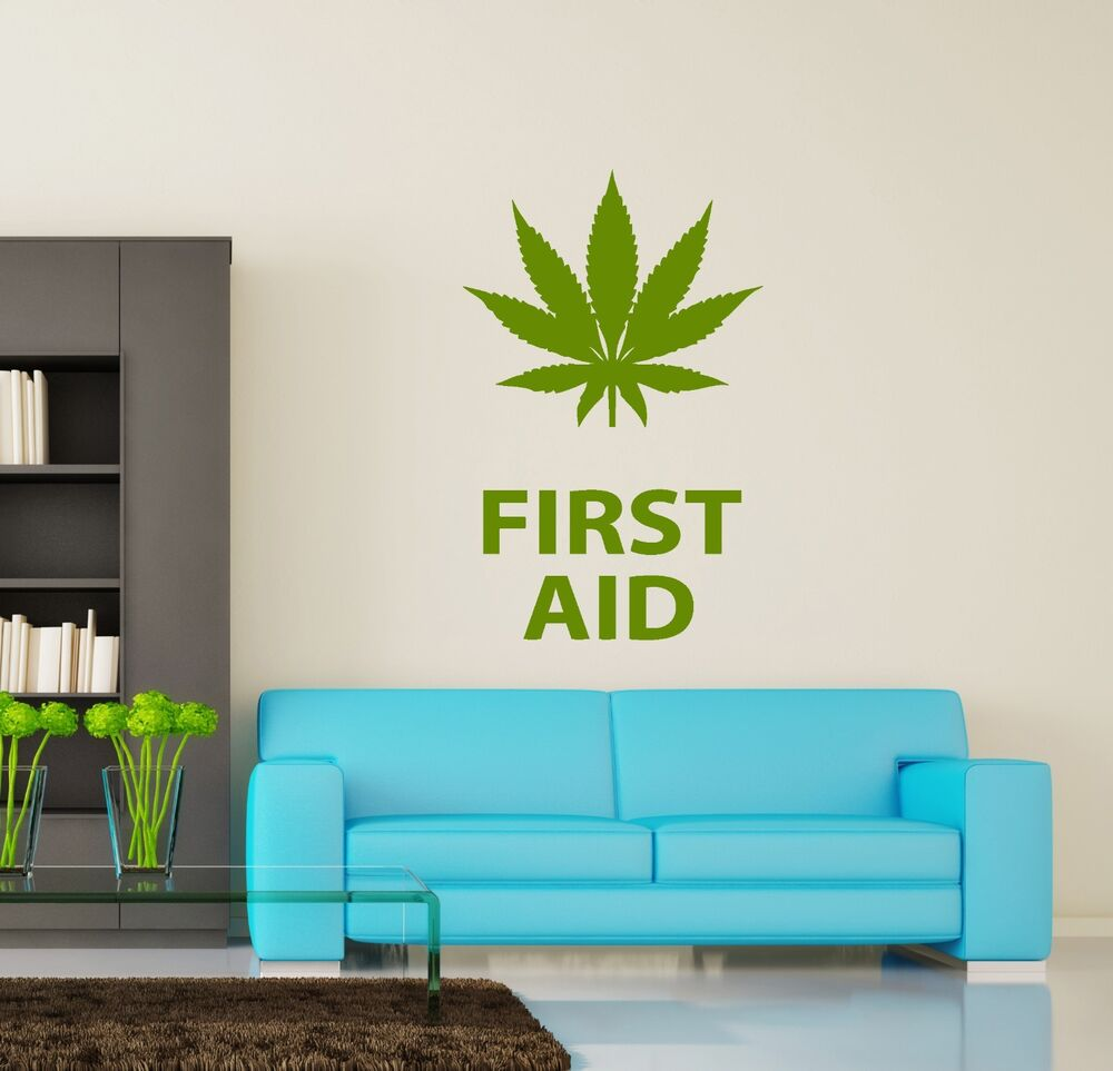 Details About Wall Vinyl Maryhuana Weed Quotes First Aid Smoking (z3391)
