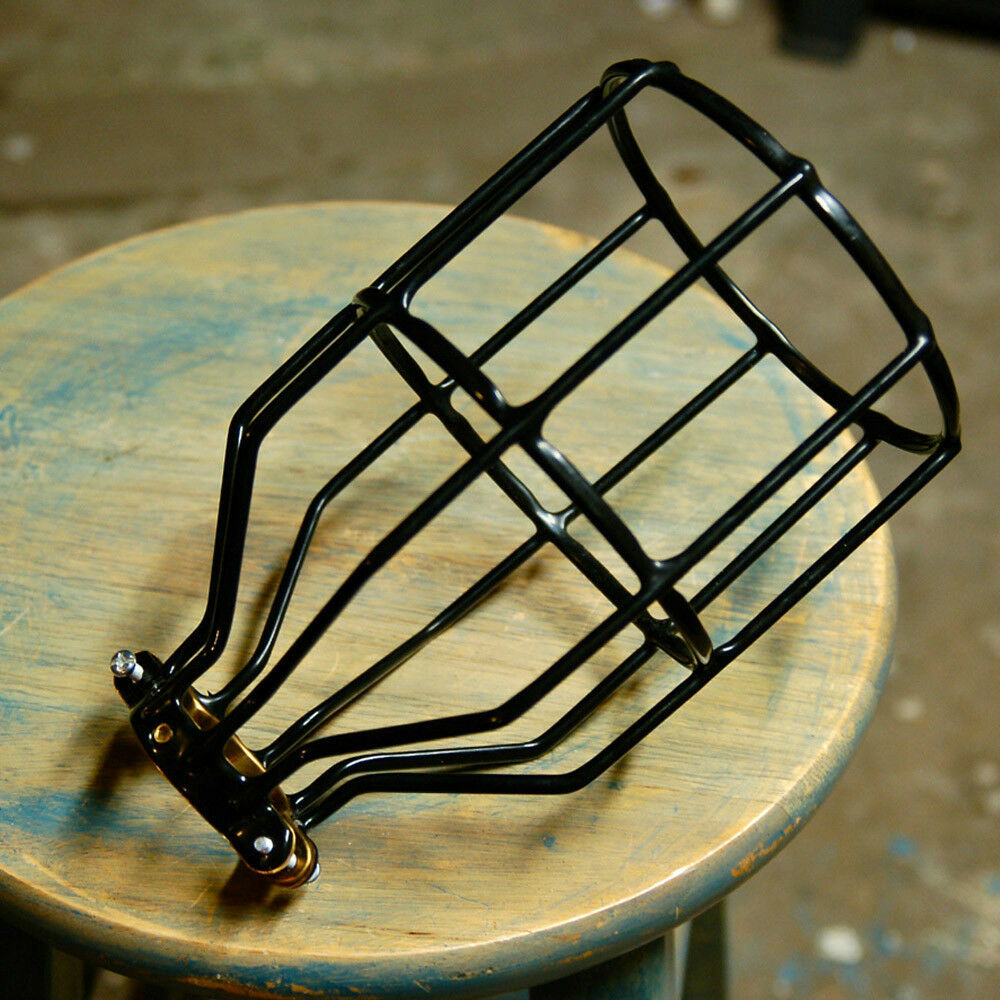 retro wire bulb cage clamp on lamp guard vintage trouble lights lampshade sha. Black Bedroom Furniture Sets. Home Design Ideas