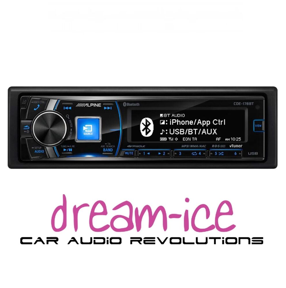 alpine cde 178bt car stereo cd mp3 bluetooth usb for ipod. Black Bedroom Furniture Sets. Home Design Ideas