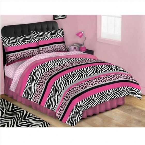 New Girls Pink Jungle Queen Bed In A Bag Complete