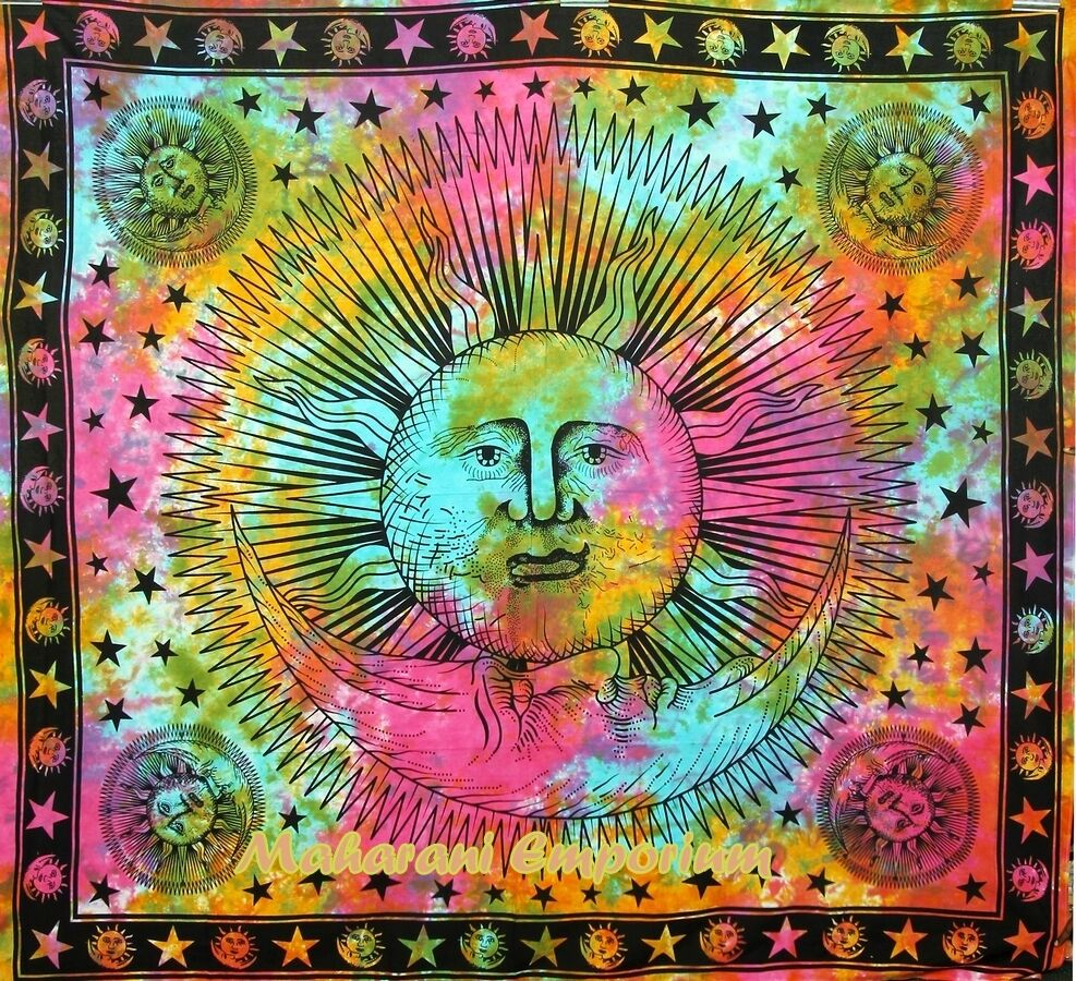 Psychedelic Tapestry Sun and Moon Wall Hanging Hippie Sun Tapestries ...