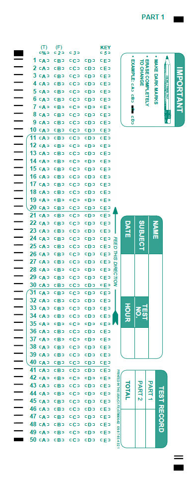 Vibrant image throughout printable scantron form