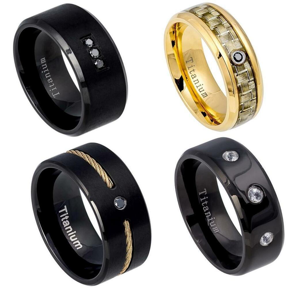 NEW Titanium Mens Diamond Wedding Band Comfort Fit Promise