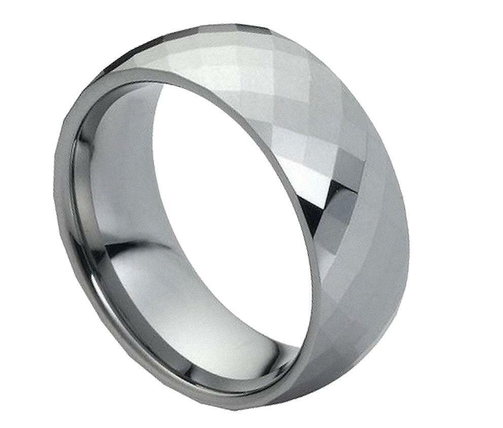 8MM Tungsten Carbide Mens Womens Wedding Band Domed Faceted Ring Size 5 15