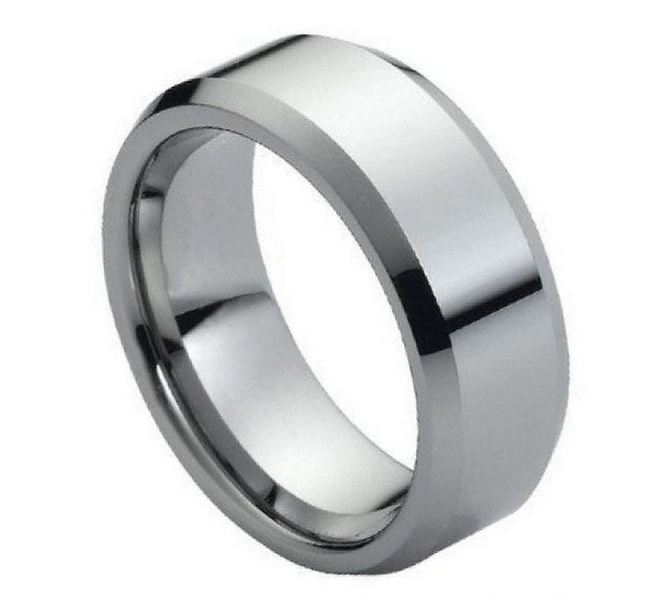 Tungsten Carbide Mens Wedding Band Ring 8MM High Polish Beveled Edge Size 5 1