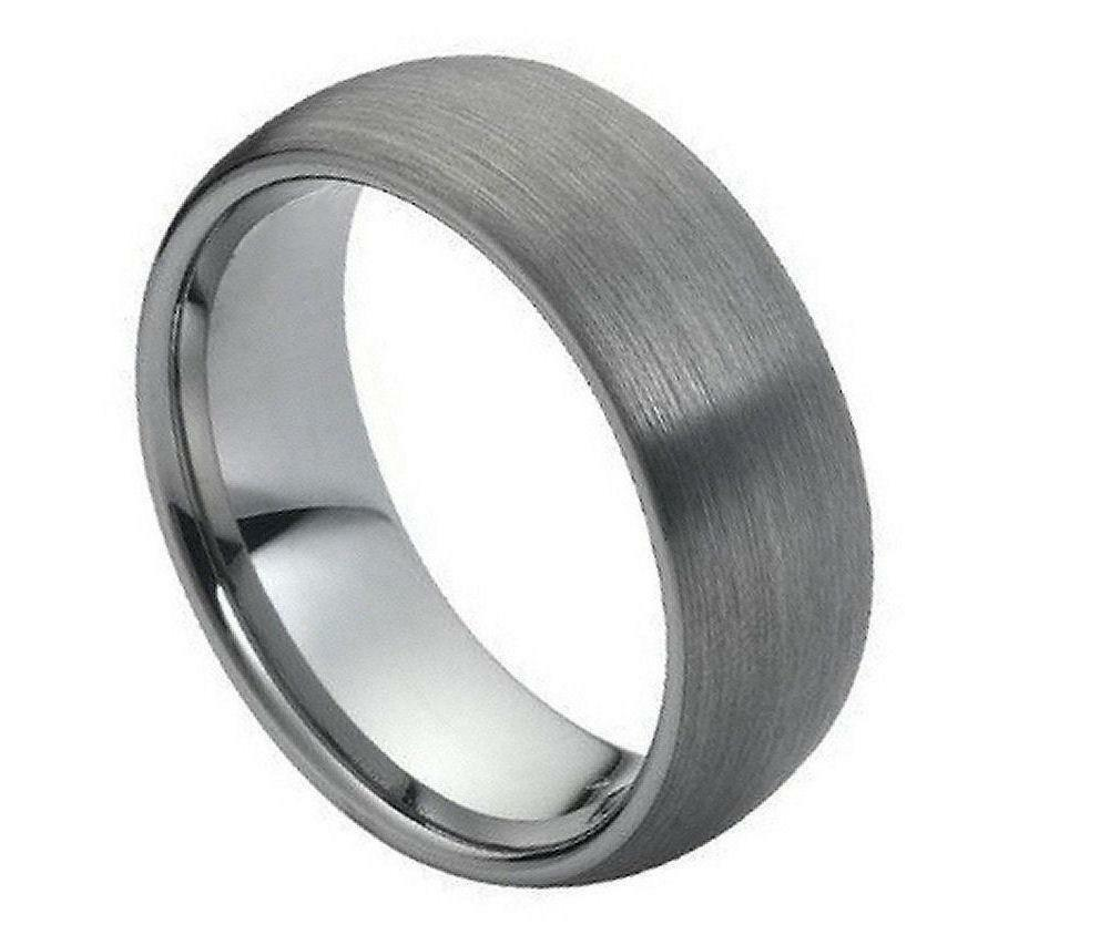 tungsten carbide wedding band ring 8mm with dome brushed polished shiny design ebay. Black Bedroom Furniture Sets. Home Design Ideas