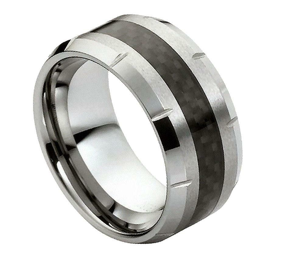 tungsten carbide wedding band ring 10mm with beveled edges carbon fiber inlay ebay. Black Bedroom Furniture Sets. Home Design Ideas