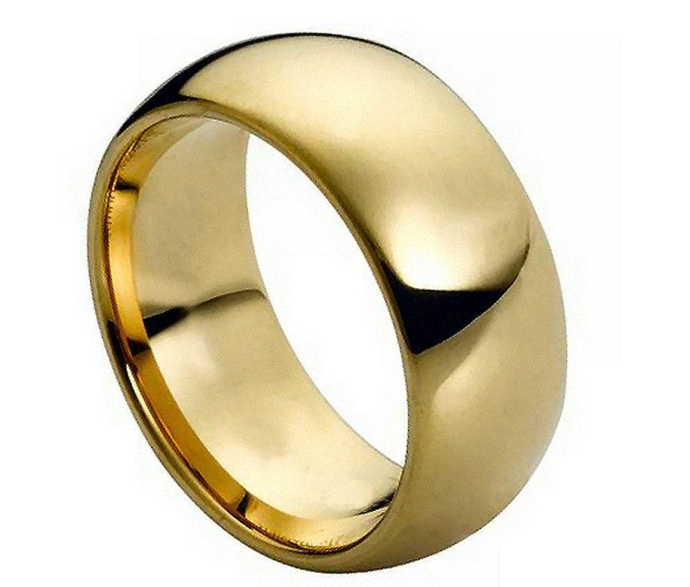 Gold Plated Wedding Rings: Tungsten Carbide Mens Wedding Band 9MM Ring Domed Gold