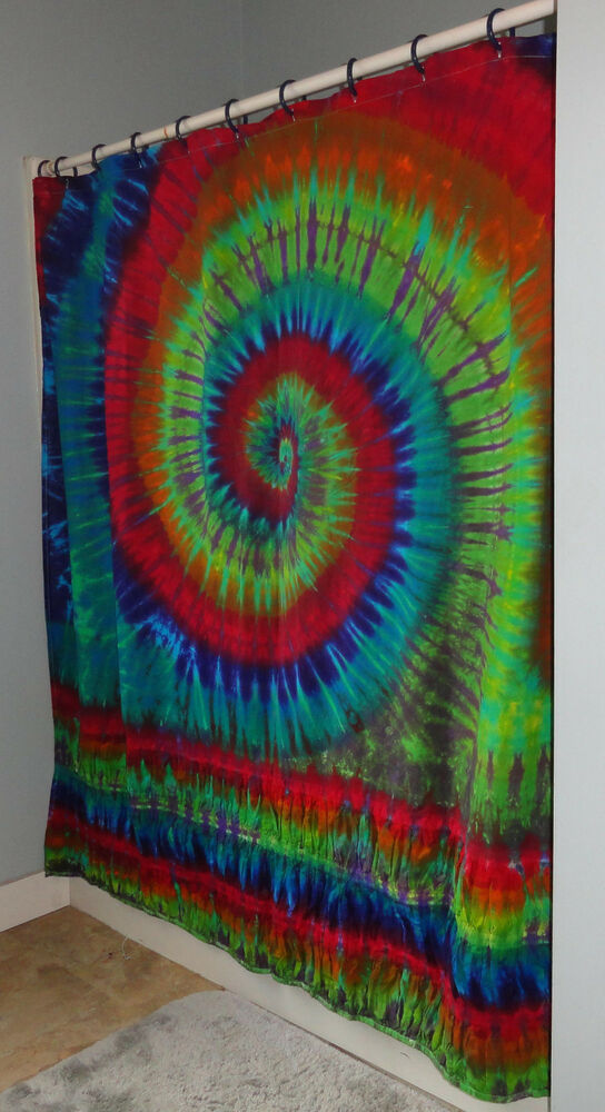 New Hippie Tie Dye Dyed Rainbow Midweight Cotton Fabric Shower Curtain Washable Ebay