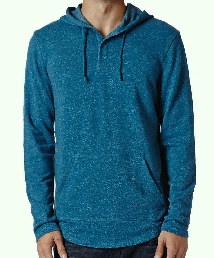 Quiksilver henley hoodie shirt mens teal blue marled speck for Mens teal polo shirt
